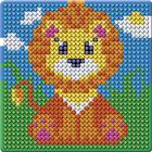 Алмазная мозаика магнит для детей «Львёнок», 18 х 18 см + емкость, стерж, клеев подушечка. Набор для творчества