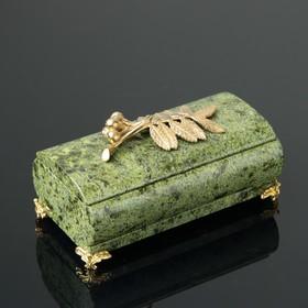 Шкатулка 'Рябинка', со съемной крышкой, 14,5х7,5х8 см, змеевик Ош