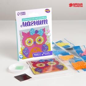 Набор для творчества. Алмазная мозаика магнит для детей «Совушка», 10 х 10 см + ёмкость, стержень, клеевая подушечка Ош