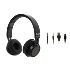 Наушники BLAST BAH-815 BT, беспроводные, накладные, микрофон, BT v4.2, 250 мАч, черные