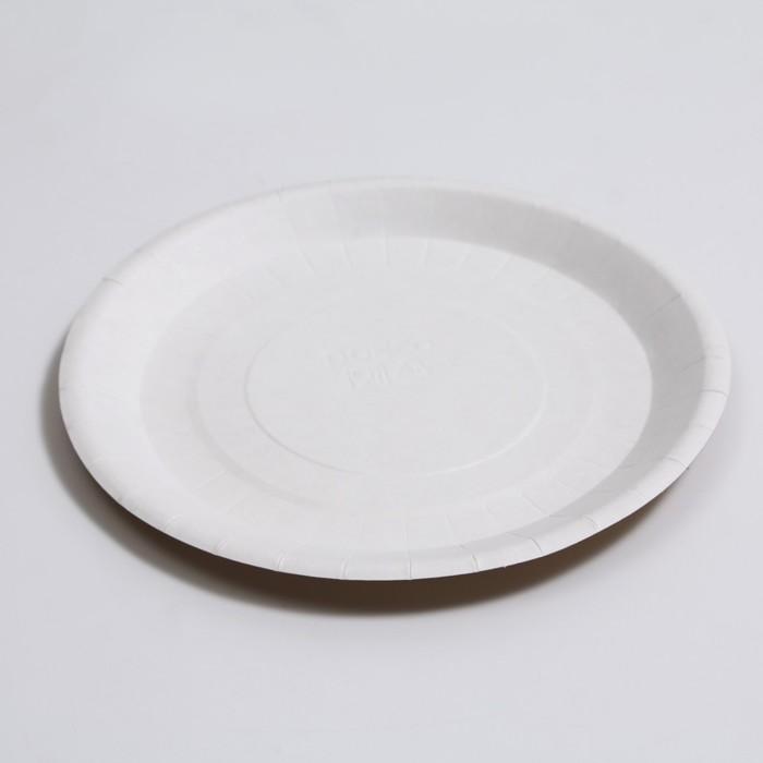 Бумажная тарелка крафт 18 х 18 см
