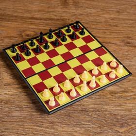 Настольная игра 2 в 1 'Баталия': шашки, шахматы,  доска пластик 16.5х16.5см Ош