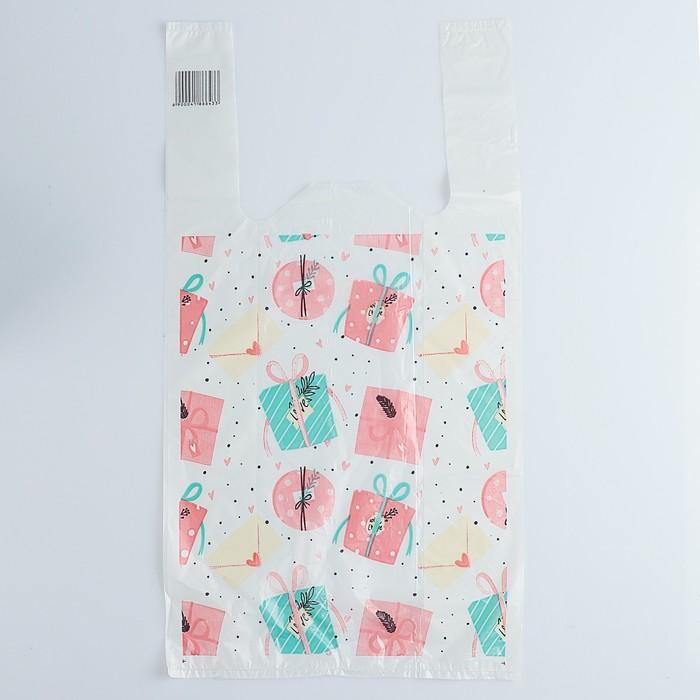 Пакет Подарки-бантики, полиэтиленовый, майка, 26 х 48 см, 12 мкм