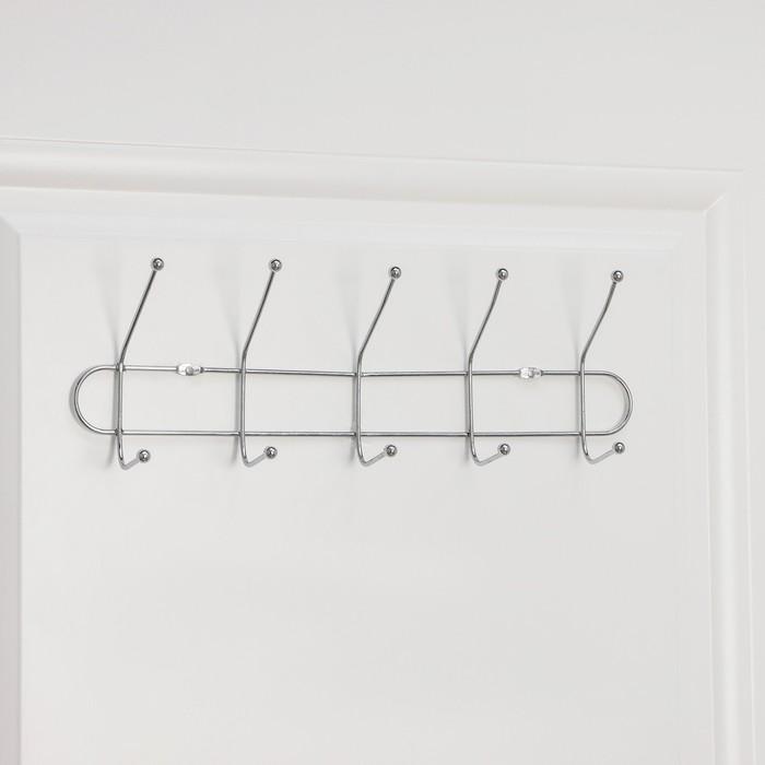 Вешалка настенная на 5 двойных крючков Доляна «Блеск», 39,5×7×10 см, цвет серебро
