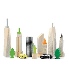 """Деревянный игровой набор """"Городские небоскрёбы"""", светится в темноте"""