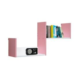 Полка навесная №3, 900 × 200 × 450 мм, цвет белый/свело-розовый