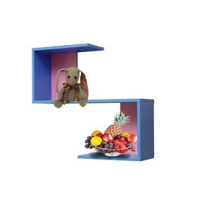 Полка навесная №2, 700 × 200 × 650 мм, цвет синий/ярко-розовый