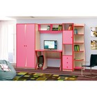 Набор мебели для детской «Юниор 11.3», 2790 ? 540 ? 1850 мм, дуб молочный / ярко-розовый