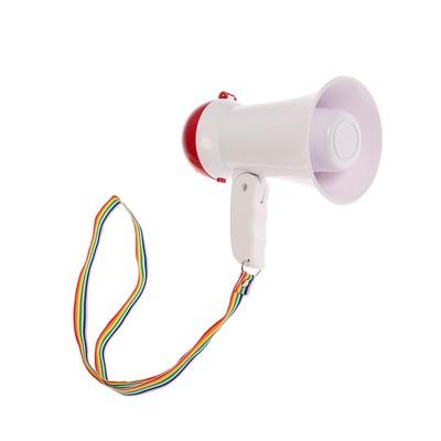 Мегафон ручной, 5 Вт, дальность 200 м, запись 10 сек, 3 режима, белый