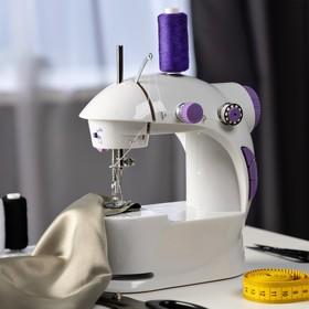 Швейная машинка LuazON LSH-03, 6 Вт, полуавтомат, 2 скорости, 4xАА или 220 В, белая Ош