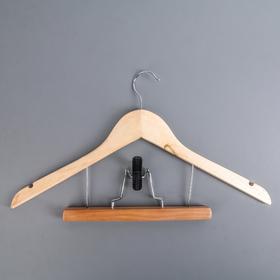 Вешалка-плечики для юбок и брюк с зажимом, дерево эвкалипт, сорт А