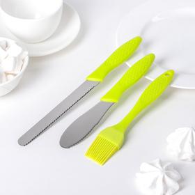 Набор кондитерский 3 предмета: кисть, 2 ножа, цвета МИКС Ош