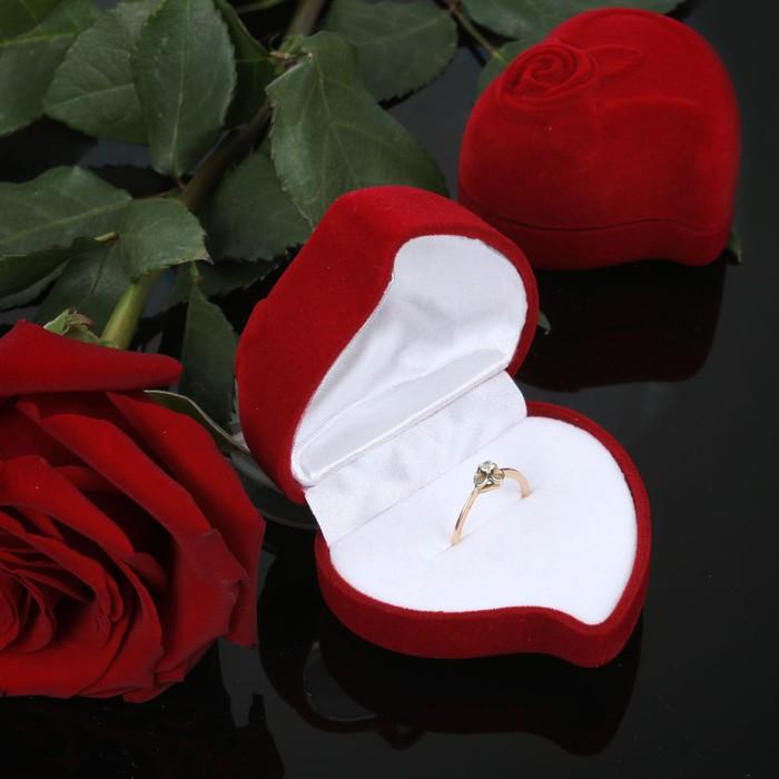 """Футляр под кольцо """"Сердце, роза"""", 6*6*3, цвет красный, вставка белая"""