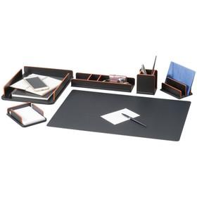 Набор настольный Delucci 6 предметов, светло-черный c деревянной отделкой 271030
