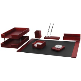 Набор настольный Delucci 7 предметов, красное дерево, часы 271032