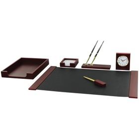 Набор настольный Delucci 6 предметов, красное дерево, часы 271036