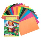 Бумага цветная, в папке, двухсторонняя, А4, 16 листов, 8 цветов, «Тигр», плотность 45 г/м2