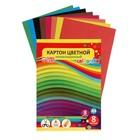 Картон цветной, не мелованный, А4, 8 листов, 8 цветов, «Графика», плотность 220 г/м2