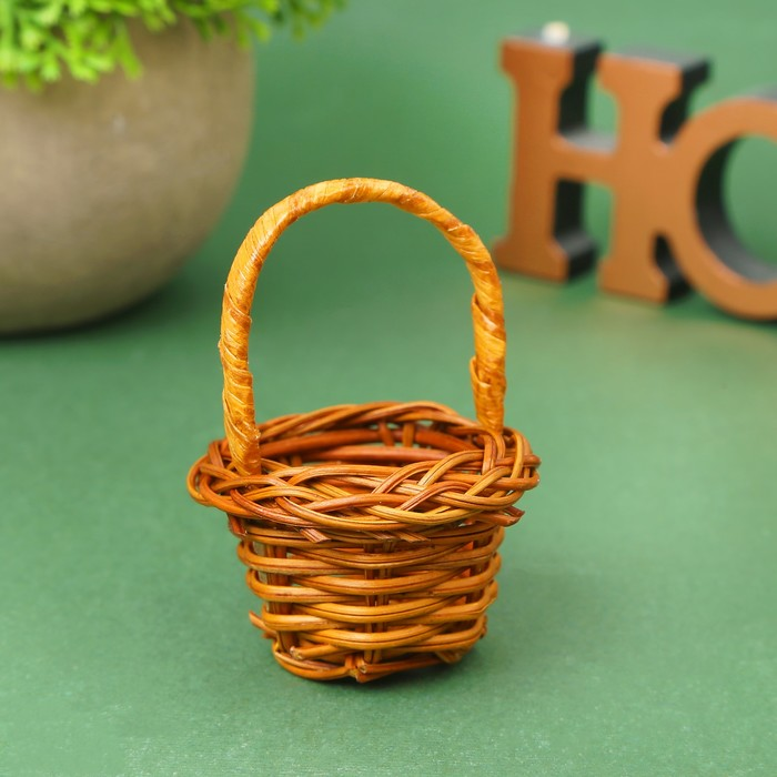 Кукольная миниатюра Корзинка, цвет коричневый