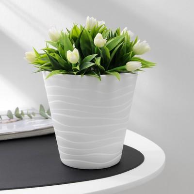 Кашпо со вставкой «Валенсия», 2 л, цвет белый - Фото 1