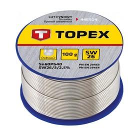 Припой оловянный TOPEX 44E514, 60% олово, 40% свинец, проволока 1.0 мм, 100 г