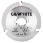 Диск отрезной по дереву GRAPHITE 55H599, 125x22.2x2.8 мм, 3 зуба, твердосплавные напайки