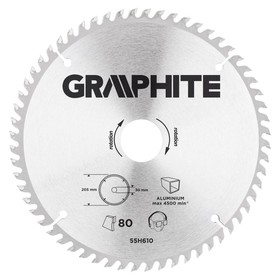Диск отрезной по алюминию GRAPHITE 55H610, 205 x 30 мм, 80 зубьев, твердосплавные напайки
