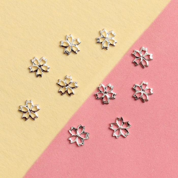 Декоративные элементы «Цветочек», 0,4 ? 0,4 см, 10 шт, цвет серебристый