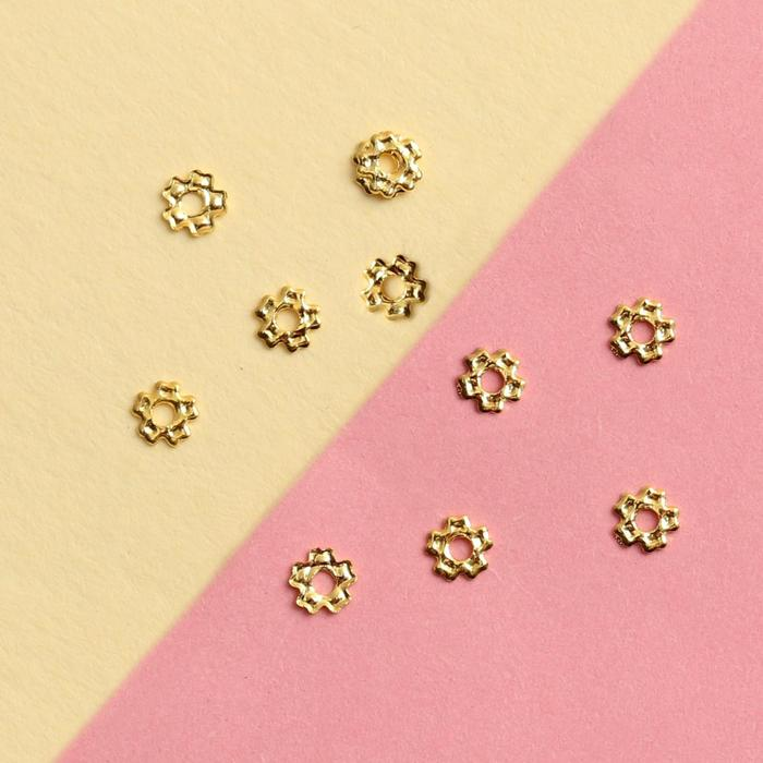Декоративные элементы Цветочек, 0,5 0,5 см, 10 шт, цвет золотистый