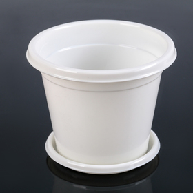 Горшок цветочный с поддоном Альтернатива «Эконом», 1 л, цвет белый