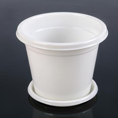 Горшок с поддоном «Эконом», 1 л, цвет белый - Фото 1