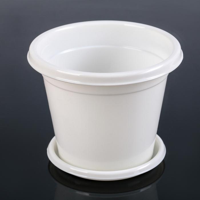 Горшок с поддоном Эконом, 1 л, цвет белый