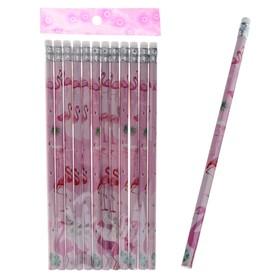 Карандаш чернографитный, с ластиком, НВ, Фламинго