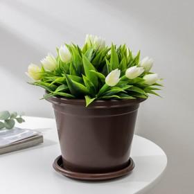 Горшок цветочный «Эконом», 1 л, цвет коричневый Ош