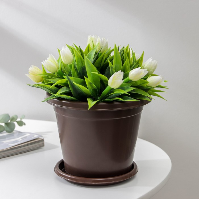Горшок с поддоном Эконом, 1 л, цвет коричневый
