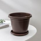 Горшок с поддоном «Эконом», 1 л, цвет коричневый - Фото 2