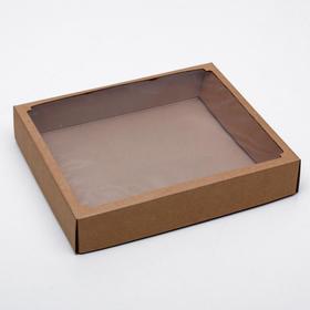 Коробка сборная без печати крышка-дно бурая с окном 37 х 32 х 7 см
