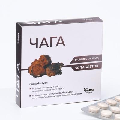 Таблетки Чага при язвенной болезни и гастрите, 50 таблеток по 500 мг. - Фото 1