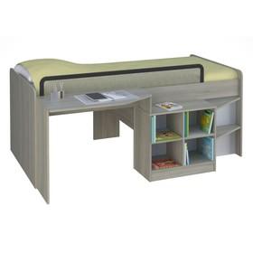 Кроватка-чердак детская Polini kids Simple со столом и полками 4000, цвет вяз-белый Ош