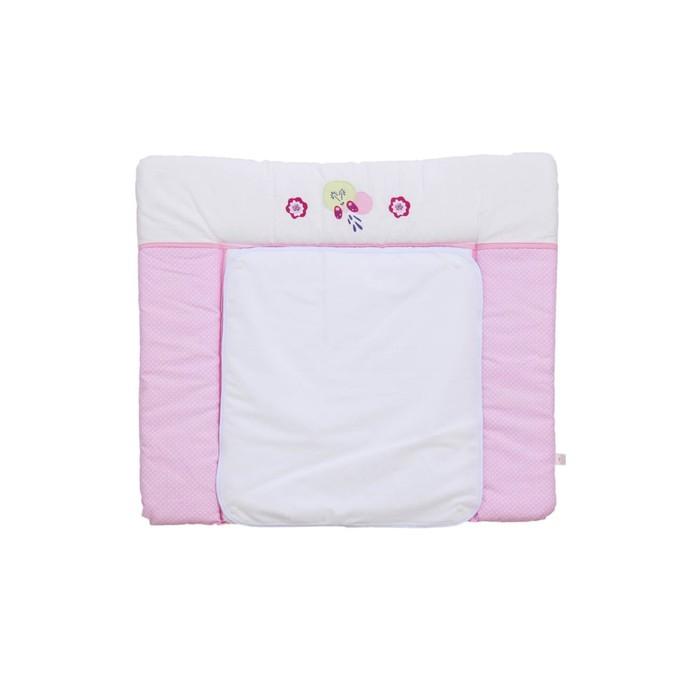 Доска пеленальная Polini kids Joy «Весенняя мелодия», мягкая с вышивкой, 85 х 75, розовая