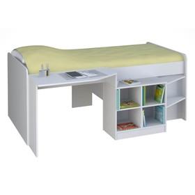Кроватка-чердак детская Polini kids Simple со столом и полками 4000, цвет белый Ош