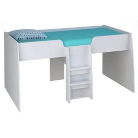 Кроватка-чердак детская Polini kids Simple 4100 с выдвижными элементами, цвет белый Ош