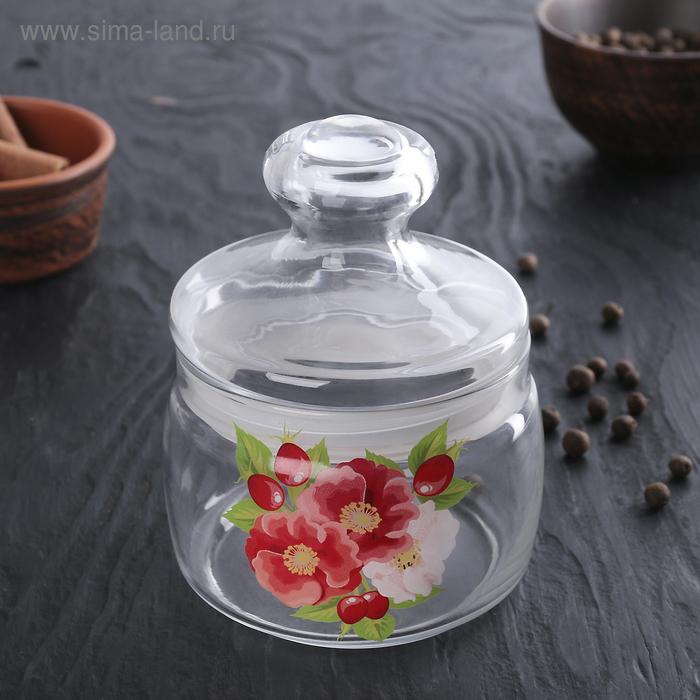 """Емкость для сыпучих продуктов """"Цветок"""" со стеклянной  крышкой 500 мл"""
