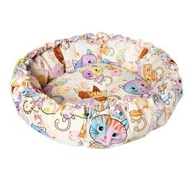 Лежанка 'Ватрушка' Коты, 46 х 46 х 10 см, микс расцветок Ош