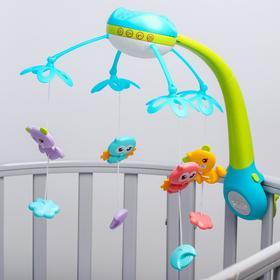 Мобиль музыкальный «Яркие птички», с ночником + пульт, цвет МИКС
