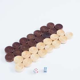 Шашки деревянные d=2.3 см, без поля, микс Ош