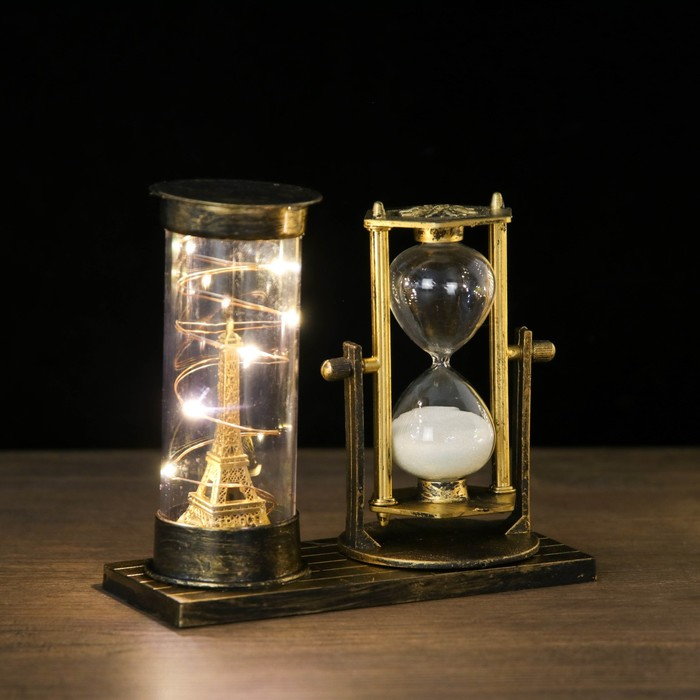 Часы песочные Достопримечательности Франции, с подсветкой, 15.5х6.5х16 см, микс