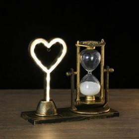 Часы песочные 'Любовь', 15.5х6.5х16 см, с подсветкой,  микс Ош