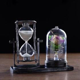 Часы песочные 'Роза',  с подсветкой, 15х9х14 см   микс Ош
