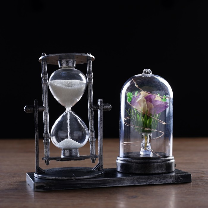 Часы песочные Роза, с подсветкой, 15х9х14 см микс